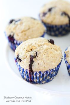 Coconut muffins made with white whole wheat flour, coconut oil, coconut milk, coconut, and blueberries. Coconut fans will go crazy for these muffins! Coconut Muffins, Lemon Blueberry Muffins, Blue Berry Muffins, Vegan Blueberry, Coconut Recipes, Baking Recipes, Dessert Recipes, Brunch Recipes, Baking Ideas