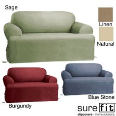 Sure Fit Cotton Classic T Cushion Sofa Slipcover (Chocolate), Brown (Solid)