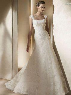 Off- the-Shoulder lace Lovely Bow Belt A-Line Skirt Floor-length Satin wedding dress