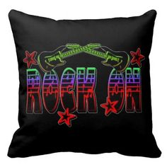 Rainbow Logo Rock On Guitars & Stars Throw Pillow  | Customize with your choice of background color.