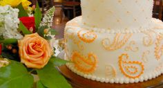 Orange Paisley and Rose Wedding Cake from Cakes by Request