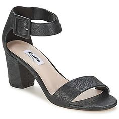 New collection by Dune! A stack heel and ankle strap make these black leather sandals practical and classy! #shoes #sandals #heels #dune #womens #uk #ss15