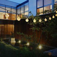 Solar Garden Lights -- Solar String Lights With 30 LED Fairy Bubble Crystal Ball Lights For Garden Decoration, Waterproof Solar Lights Outdoor Charged by Sunlight. Globe String Lights, Solar String Lights, Led Wall Lights, Solar Powered Lights, String Lights Outdoor, Ball Lights, Outdoor Lighting, Lighting Ideas, Yard Lighting