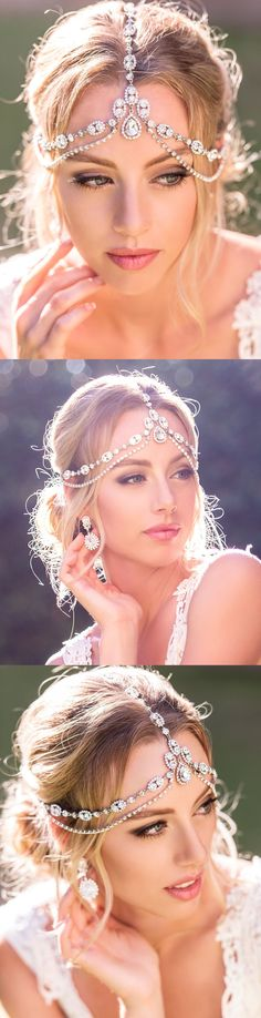 This bohemian inspired hair accessory adds a romantic touch to your bridal look. Handcrafted in NYC with glittering Swarovski crystals and cubic zirconia stones, this stunning headpiece is sure to hav
