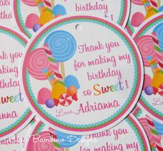 Sweet Shoppe Lollipop Birthday Party Favor Tags by ciaobambino, $6.00