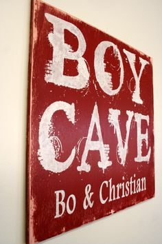 Boys Room Decor Nursery Decor Custom Sign Personalized Sign Rustic Distressed Wood Shabby Chic Cottage Chic Handmade Handpainted Red