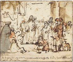 Rembrandt Drawings   Rembrandt, Christ and the woman taken in adultery, ca. 1659-60. Munich ...