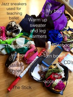 """Dance Bag Mess~ Organization tips! How is your Ballet Habit challenge going ? Ballet teacher and student. Turnout exercise #3 will help the rotation from the hip. Turnout from the hip. Me in class. In this post, you will find out how important it is to have an organized dance bag. After Day 1 & 2 of the Four Week Ballet Habit challenge, my legs were tired. My calves ached and my back had a QL spasm again. I decided to """"listen"""" to my body and keep the day """"off"""" on my schedule for Day 3…"""