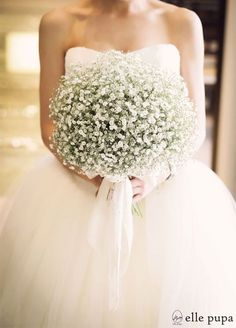 Baby's Breath Wedding Inspiration: 20 Ways to incorporate inexpensive Baby's Breath into your wedding - bouquets, flower crowns and cake decorations. White Wedding Bouquets, Bride Bouquets, Wedding Dresses, Gypsophila Wedding Bouquet, Baby's Breath Wedding Bouquet, Bridesmaid Bouquets, Flower Bouquets, Wedding White, White Flowers Bouquet