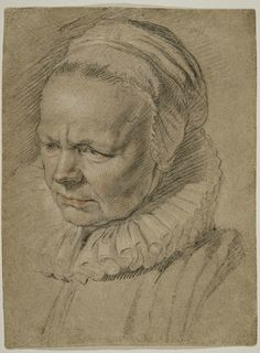Jacob Jordaens (Flemish, 1593-1678), Portrait of Elizabeth Van Noort, the Artist's Mother-in-law, c. 1630s; black, red and white chalks on buff paper, 12-3/8 x 9-5/8 in. Courtesy of the Ackland Art Museum, the University of North Carolina at Chapel Hill, The Peck Collection
