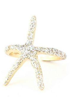Glittery Gold Starfish Ring - 6.99