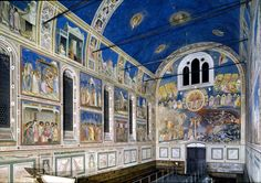 THE ARENA OR SCROVEGNI CHAPEL IN PADUA           GIOTTO  1305-6 AD  One of the masterpieces of early Renaissance art. The walls and ceiling are covered with a fresco cycle by Giotto depicting the life, death, and resurrection of Jesus Christ.