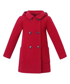 Look at this Cherry Hooded Double-Breasted Peacoat - Toddler & Girls on #zulily today!