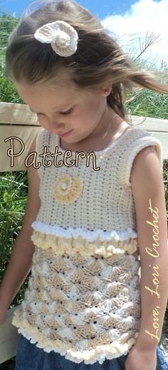 Pattern for Sandy Sea Shell Little Girl's by LoveLoriCrochet, $9.00