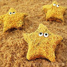 Handcraft homemade marshmallows into starfish s'mores.