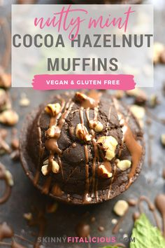 Nutty Mint Chocolate Muffins! Bursting with rich dark cocoa, mint flavor & crunchy hazelnuts, these vegan muffinsmakemouthwatering minidesserts. A healthy way to satisfy a sweet tooth! Gluten Free + Vegan + Low Calorie! #vegan #muffin #hazelnut #skinnyfitalicious