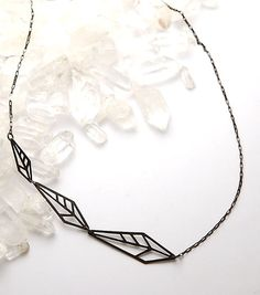 STONE & HONEY, PULSE NECKLACE: little diamond feathers. laser cut!