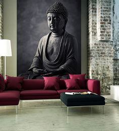 Wallskin PVC Black Stone Buddha Statue Wall Decal
