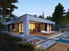 EX 21 soft - projekt domu - Archipelag Modern Bungalow House, Bungalow House Plans, Modern House Plans, Modern Small House Design, Minimalist House Design, Modern Residential Architecture, Tiny House Exterior, House With Porch, Building A House