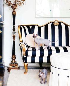❥ Black and white stripes on vintage settee