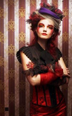 woman halloween costume Moulin Rouge costume hairstyle red hair