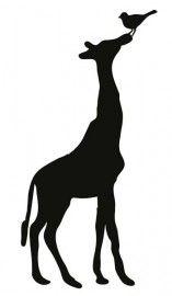Giraf met vogel