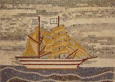 Handmade Mosaic Depiction of Sailing Boat