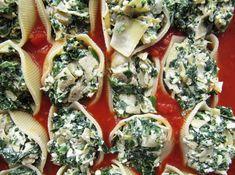 spinach and artichoke and feta stuffed shells