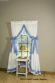 Double Ruffled White Pole Top Curtains Are Available In 10 Different  Colors. The Base Color