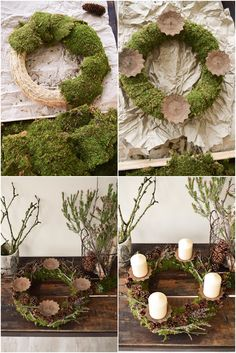 Instructions Advent wreath of moss and cones. Just do it yourself step by step, . Einfach selbermachen Schritt für Sc…, Instructions Advent wreath of moss and cones. Christmas Advent Wreath, Noel Christmas, Christmas Crafts, Christmas Decorations, Christmas Stockings, Moss Wreath, Diy Wreath, Diy Advent Wreath, Wreath Making