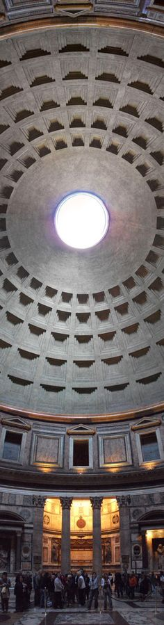 Great view of the coffered ceiling and the oculus at the Pantheon, Rome. 118-125 CE, Italy