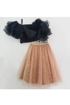 Black ruffled sleeves crop top and lehenga – Stylemylo Frocks For Girls, Kids Outfits Girls, Little Girl Dresses, Girls Dresses, Gowns For Girls, Baby Dresses, Toddler Girl Dresses, Baby Girl Lehenga, Lehenga For Girls