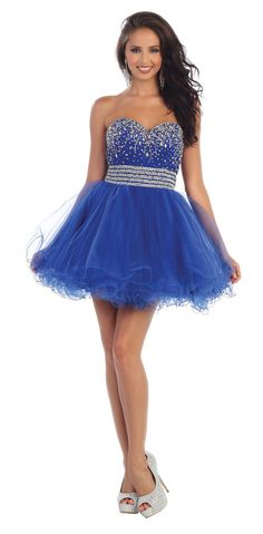 This stunning short dress comes with strapless, rhinestones, sweetheart neckline, beaded sequins bodice, and mesh material. This short dress is great for pageant, party and other special occasion. Fab