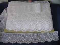 ADO Borte Spitzenborte Zierband  Weiß B 7,5cm Meterware f.Gardinen/Tischdecken