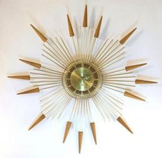 Mid Century Decor, Mid Century Style, Mid Century Modern Design, Modern Clock, Modern Art Deco, Mid-century Modern, Sunburst Clock, Sunburst Mirror, Novelty Clocks