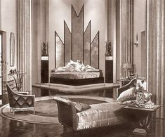 Striking sets, such as the plush bedroom for 1929's 'The Kiss' were vital elements in films without color or sound. Tweets by Art Deco Designs (@ArtDecoFineArt) | Twitter