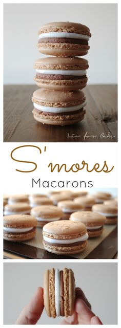macarons will satisfy your craving when there isn't a campfire nearby. Perfect blend of graham cracker cookies filled with marshmallow and chocolate. Baking Recipes, Cookie Recipes, Dessert Recipes, Baking Desserts, Cupcake Recipes, Dessert Ideas, Just Desserts, Delicious Desserts, Yummy Food