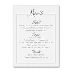 Chic Frame Custom Printed Wedding Menu Cards Http Partyblock Carlsoncraft