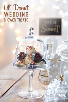 Yummy wedding shower treats that double as decorations! Serve Pillsbury® Funfetti® Lil' Donuts on a platter or in a clear vase. #lildonutspromo