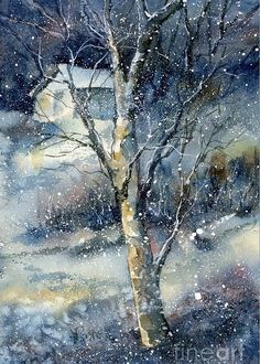 Landscape Art Print featuring the painting Snowfall by Virginia Potter Watercolor Landscape, Watercolour Painting, Landscape Art, Watercolors, Watercolor Techniques, Painting Techniques, Art Aquarelle, Wow Art, Winter Art