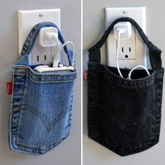 Pockets from old jeans recycled to hold your phone while charging, great for travel too.