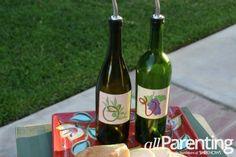 Olive oil and vinegar bottles made out of old wine bottles!