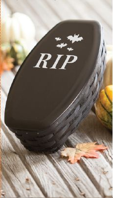 #Longaberger~Whether you're trick-or-treating with family or celebrating with friends have a frighteningly charming holiday with our 2015 Coffin Basket and WoodCrafts Lid Set! The perfect serving accessory, this basket will fit right in and bring just the right amount of scary to your home! #longabergerbaskets #halloween #homedecor