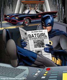 Batman 66 - Reading the Paper - Wonder Woman and Batgirl save City from Catwoman Batman Robin, Batman Y Superman, Batman 1966, Heros Comics, Dc Comics Characters, Comic Book Heroes, Marvel Dc Comics, Fictional Characters, Batgirl