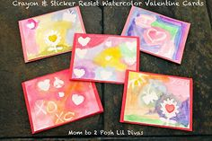 Crayon & Sticker Resist Watercolor Art- make Valentine Cards or paintings. So easy & gorgeous results