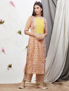 Buy Yellow Pink Hand Block Printed Cotton Kurta with Palazzo- Set of 2 online at Theloom