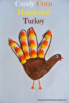 collaborative handprint art   Candy Corn Turkey- Classic Handprint Art for Thanksgiving