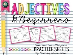 Adjectives for Beginners Practice Sheets: Common Core language/ grammar standards practice! Introduce your students to adjectives using this set of adjectives for beginners practice sheets! Set of 15 practice sheets (with answer keys!) are scaffolded. Part Of Speech Grammar, Teaching Grammar, Grammar Lessons, Speech And Language, Language Arts, English Adjectives, English Phonics, Phonics Activities, Class Activities