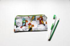 PARROT pencil pouch zip bag zippered pencil case by Sunchildsews Zipper Pencil Case, Pencil Pouch, Zipper Pouch, Bird Barn, Barn Owls, Colorful Parrots, Colorful Birds, Shops, Flamingo Bird
