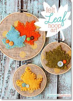 fel leaf hoop art ♥ http://felting.craftgossip.com/2014/09/15/leaf-embroidery-hoop-art-easy-fall-leaf-pillow-fall-decor-ideas/